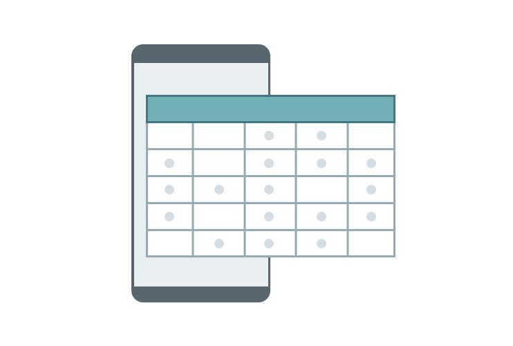 Stilisierte Tabelle, die breiter ist als das Display eines Smartphones