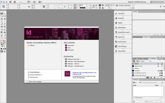 Benutzeroberfläche von InDesign CS6