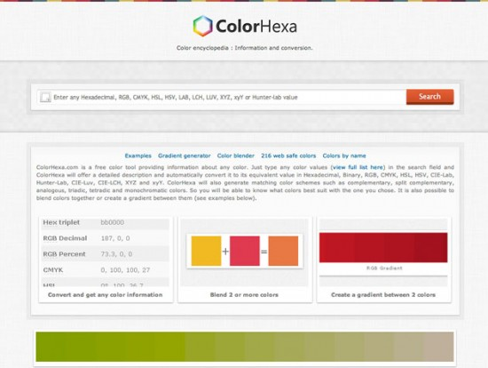Website von Color Hex