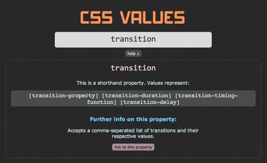 """Screenshot von """"CSS-Values"""" mit exemplarischem Suchergebnis"""