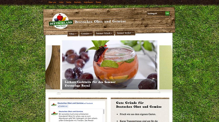 """Die Website von """"Deutsches Obst und Gemüse"""" wurde in Photoshop gelayoutet"""