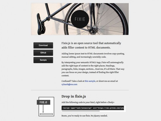 Website von Fixie.js