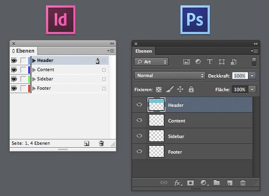 Ebenen-Bedienfeld von Photoshop und InDesign