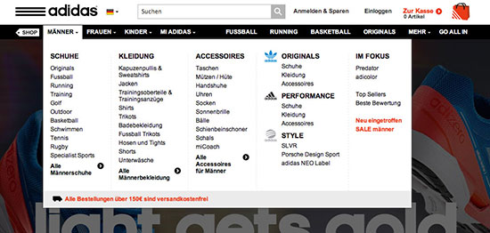 Mega Drop-Down bei Adidas