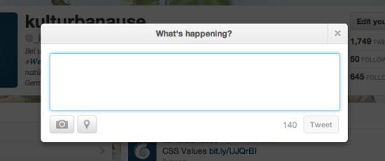 Modal Screen bei Twitter