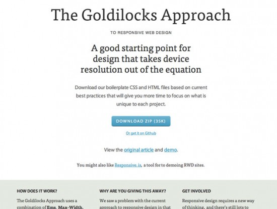 Website von The Goldilocks Approach