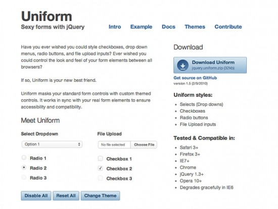 Screenshot der Uniform-Website