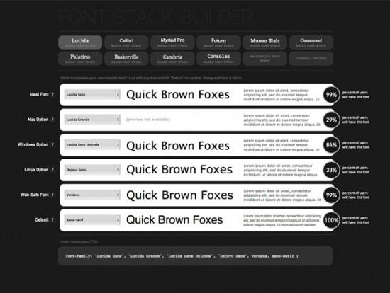 Website des Font Stack Builder
