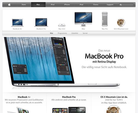 Dezente Spiegelung bei Apple