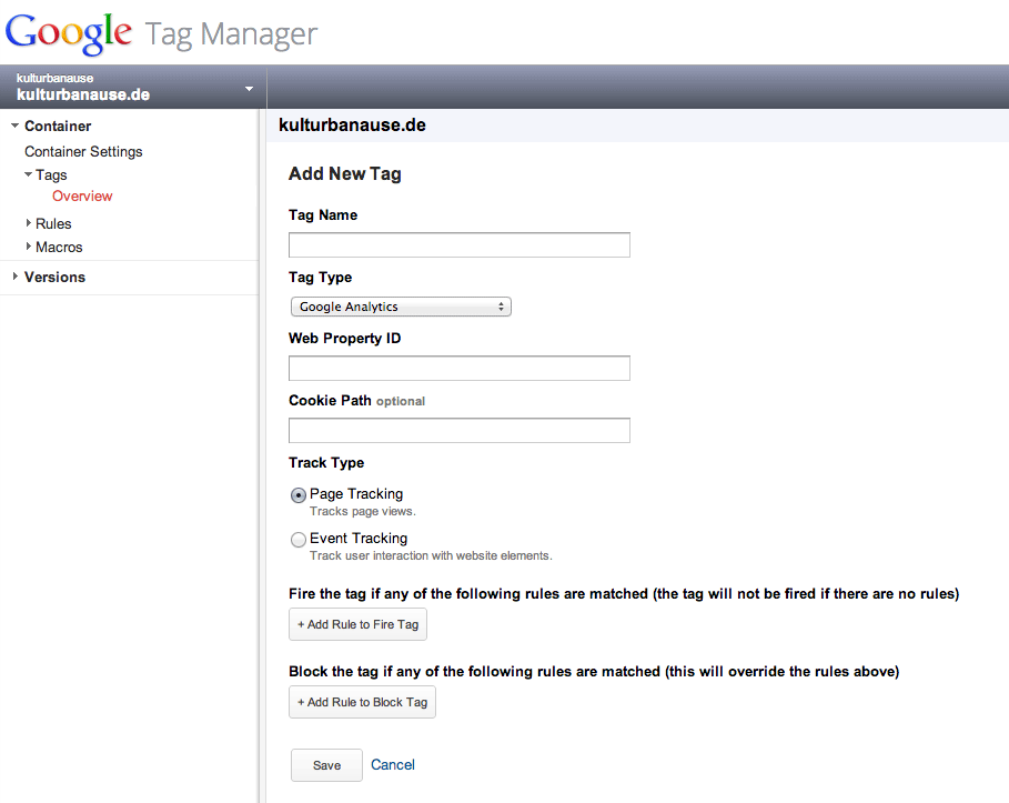Google Analytics Snippet im Google Tag Manager