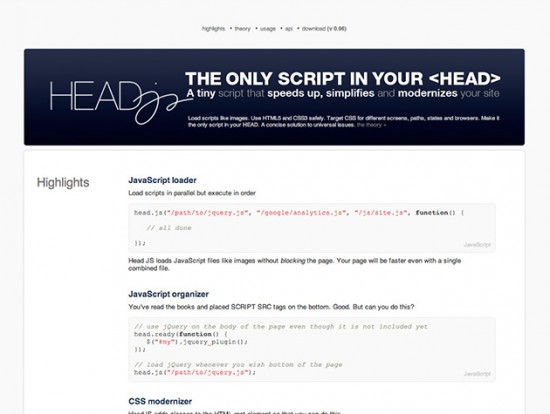 Screenshot von head.js