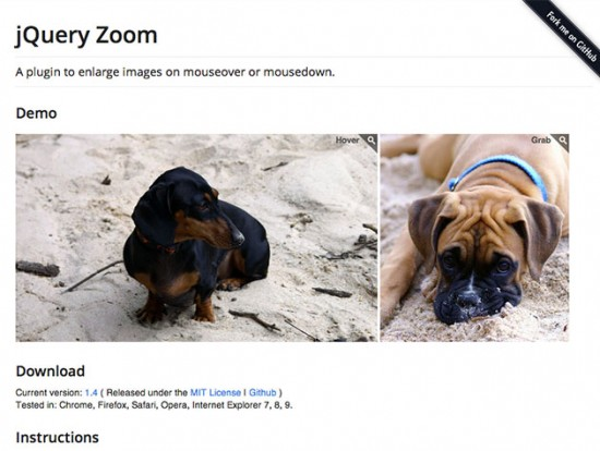 Screenshot von jQuery Zoom