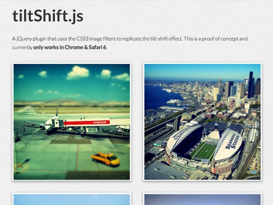 Screenshot von tiltShift.js