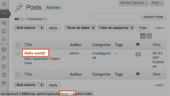 Per Mouse Over wird die ID des Beitrags in der Statusleiste angezeigt.
