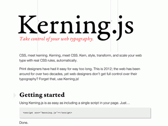 Screenshot von Kerning.js