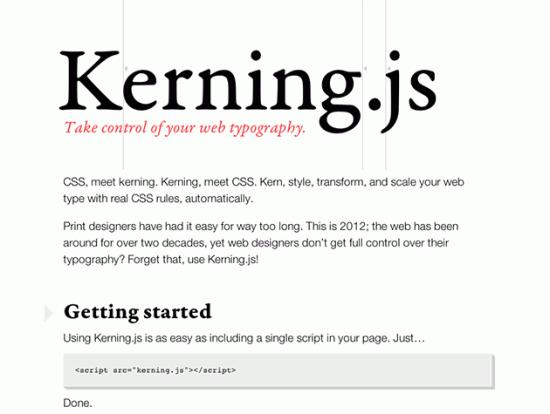 Screenshot von Kerning.js
