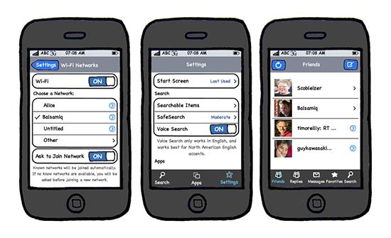 Mockup einer iPhone-App, erstellt mit Balsamiq Mockups