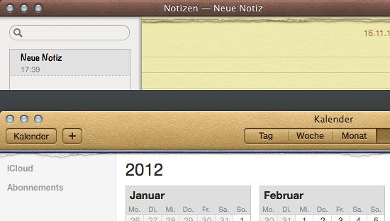 Skeuomorphismus in der Kalender- und Notiz-App von Apples Betriebssystem Snow Lion