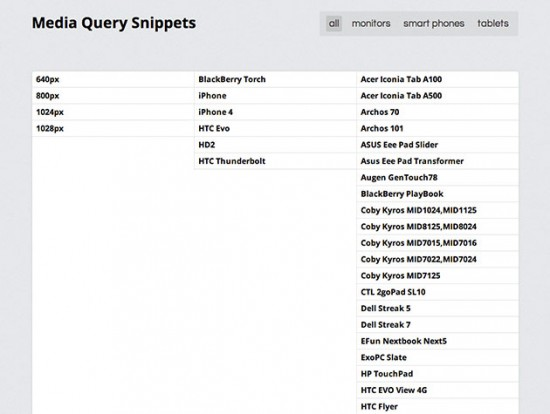 Screenshot von Media Query Snippets