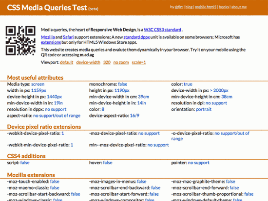 Screenshot von CSS Media Queries Test