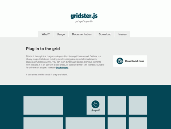 Screenshot von Gridster.js