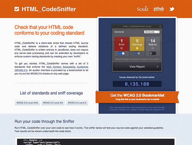 Screenshot von HTML Code Sniffer
