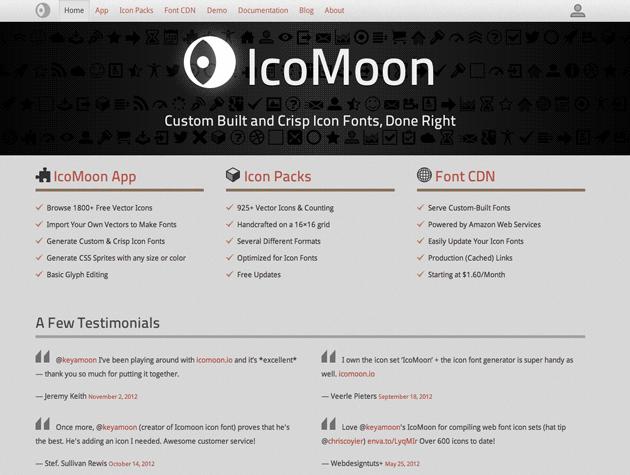 Screenshot von IcoMoon