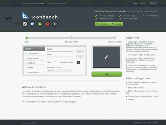 Screenshot von Iconbench