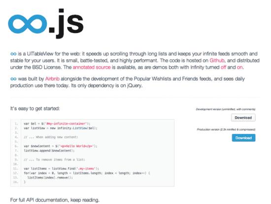 Screenshot von infinity.js