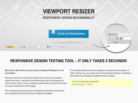 Screenshot von Viewport Resizer