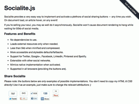 Screenshot von Socialite.js