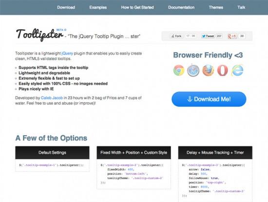 Screenshot von Tooltipster