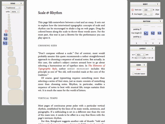 Screenshot des Typograph