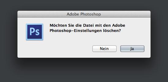 Systemdialog zur Wiederherstellung der Photoshop-Voreinstellungen