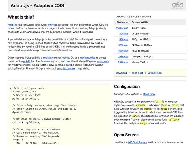 Screenshot der Website von Adapt.js