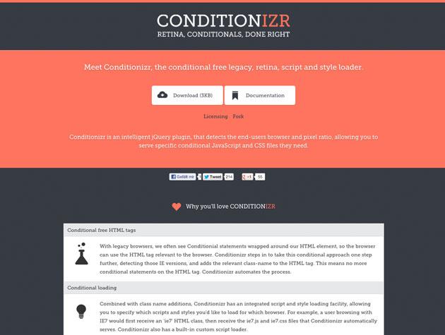 Screenshot der Conditionizr-Website