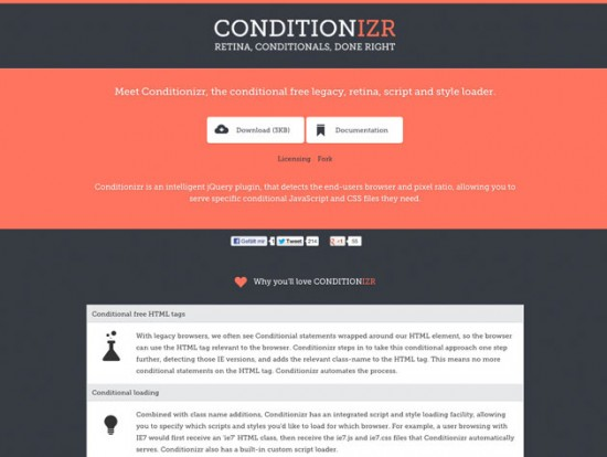 Screenshot der Conditionizr-Website