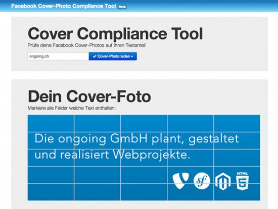 Screenshot des Cover Compliance Tool