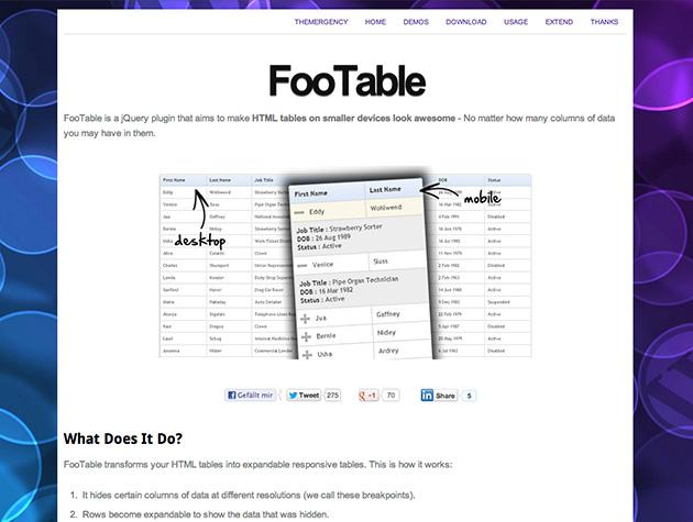 Screenshot der FooTable-Website