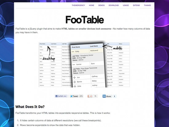 Screenshot der FooTable-Website