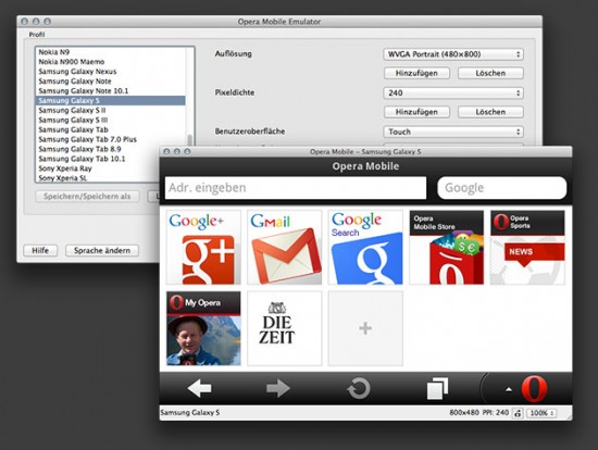 Screenshot des Opera Mobile Emulators