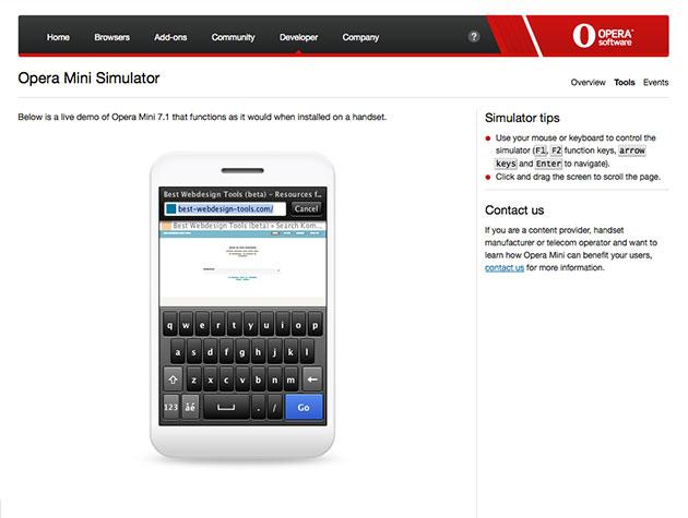 Screenshot des Opera-Simulators