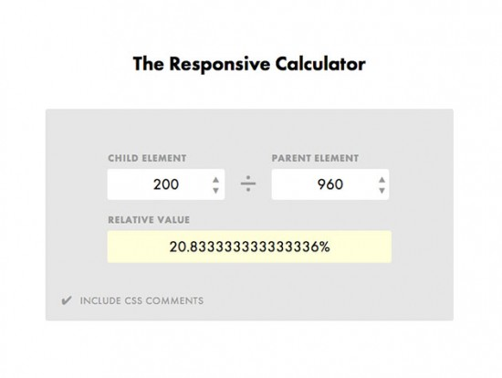 Screenshot des Responsive Calculators