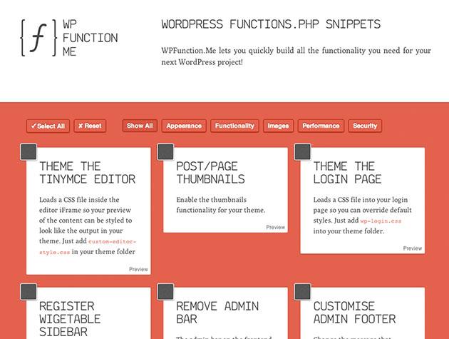 Screenshot von WP Function Me