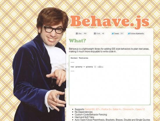 Screenshot von Behave.js :)