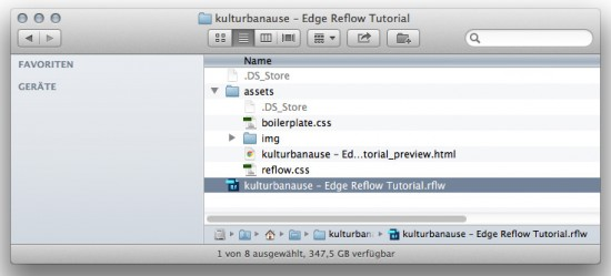 Edge Reflow verwaltet die Website in einem Projektordner