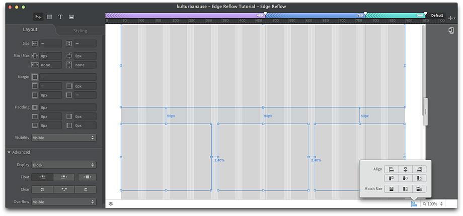Die einzelnen Boxen können in Edge Reflow manuell verschoben oder automatisch ausgerichtet werden