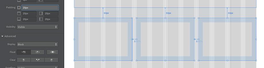 Die Elemente erhalten ein Padding von 20 Pixeln
