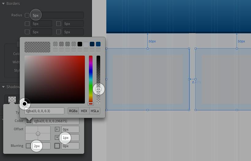 Abgerundete Ecken und Schatteneffekte sind in Edge Reflow mit wenigen Klicks erstellt