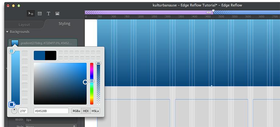 Verläufe können in Edge Reflow unkompliziert auf Elemente angewendet werden